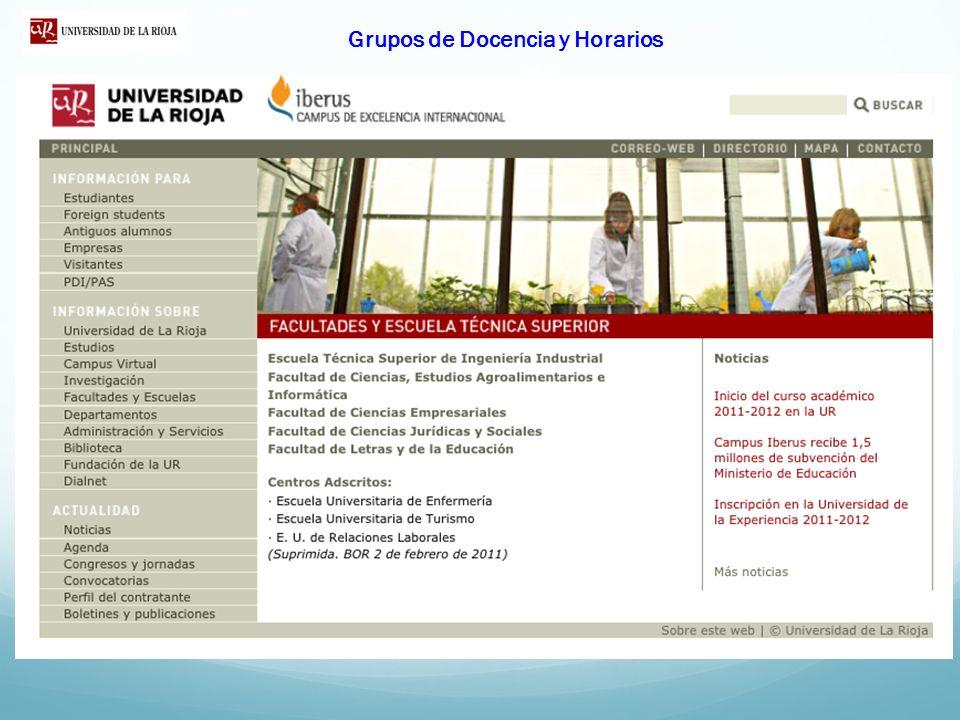 Grupos de Docencia y Horarios