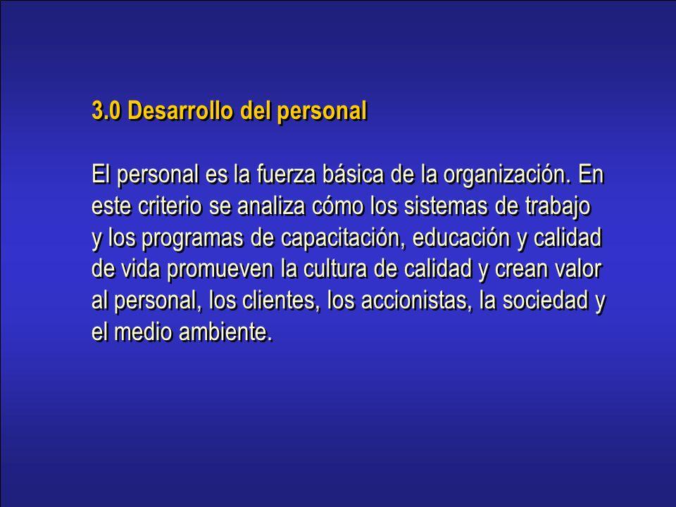 3.0 Desarrollo del personal