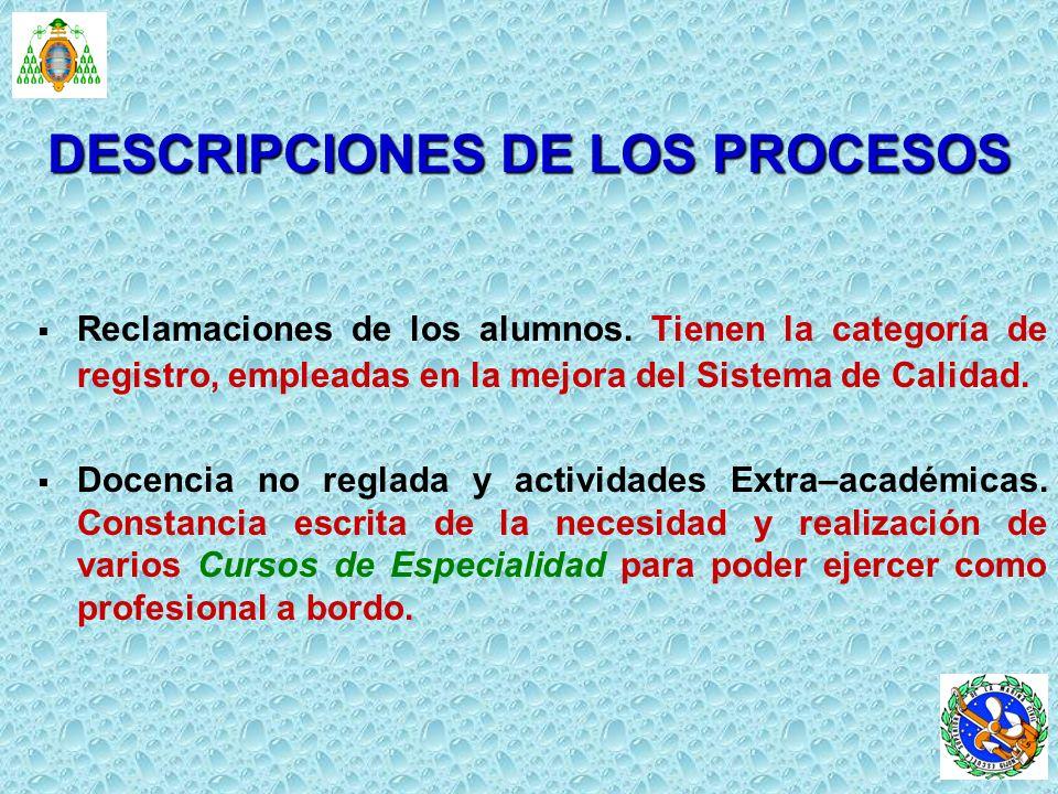 DESCRIPCIONES DE LOS PROCESOS
