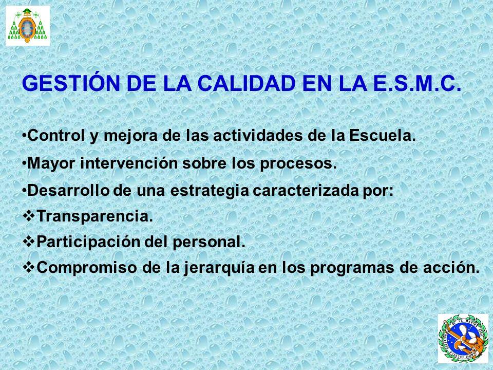 GESTIÓN DE LA CALIDAD EN LA E.S.M.C.