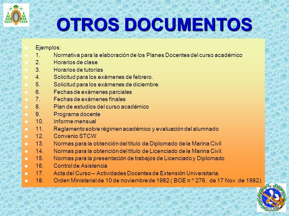 OTROS DOCUMENTOS Ejemplos: