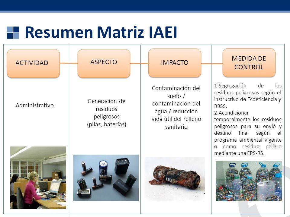 Generación de residuos peligrosos (pilas, baterías)
