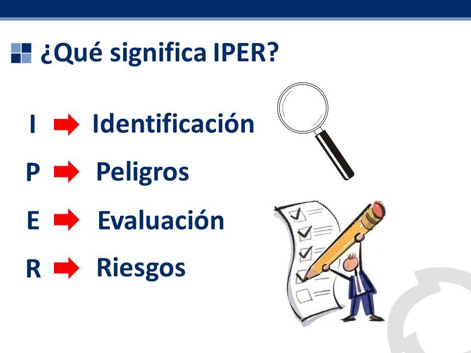 ¿Qué significa IPER I Identificación P Peligros E Evaluación R Riesgos