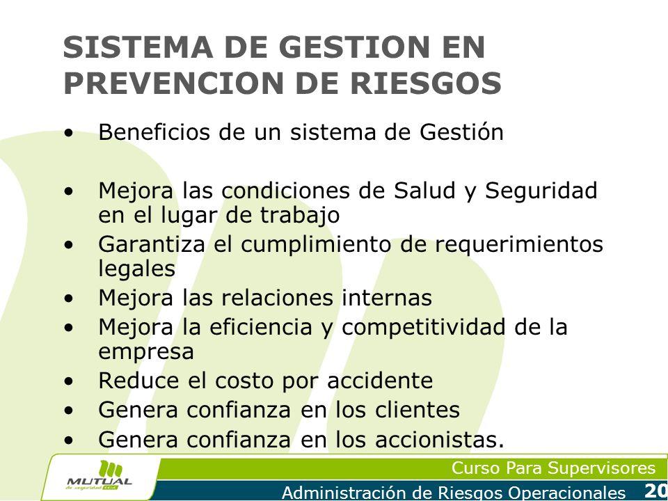 SISTEMA DE GESTION EN PREVENCION DE RIESGOS