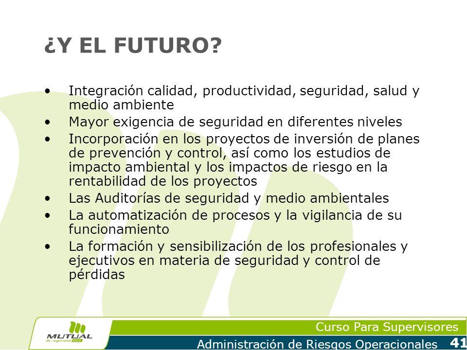 ¿Y EL FUTURO Integración calidad, productividad, seguridad, salud y medio ambiente. Mayor exigencia de seguridad en diferentes niveles.