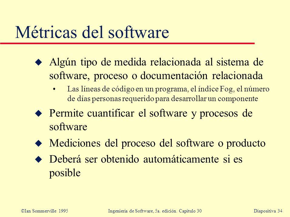 Métricas del software Algún tipo de medida relacionada al sistema de software, proceso o documentación relacionada.