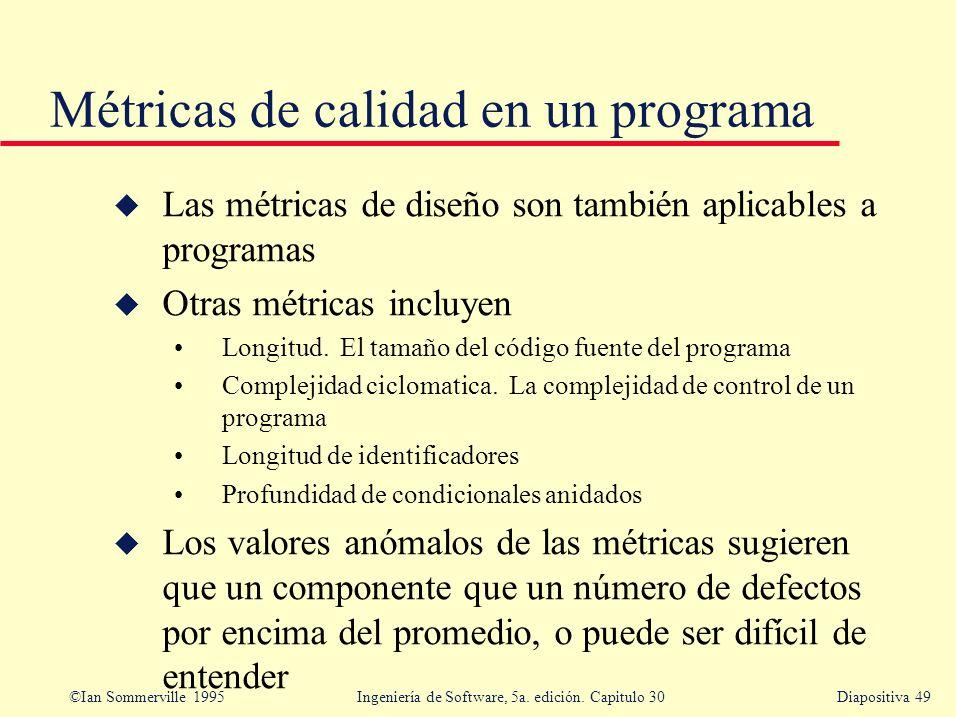 Métricas de calidad en un programa
