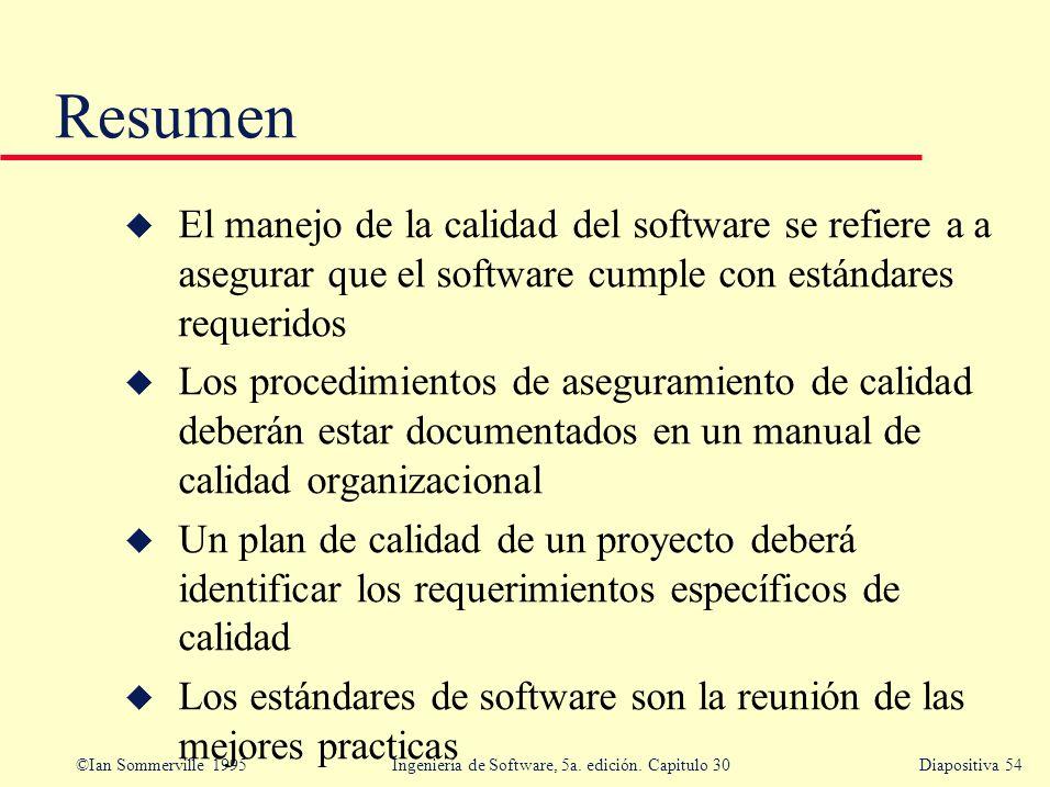 Resumen El manejo de la calidad del software se refiere a a asegurar que el software cumple con estándares requeridos.