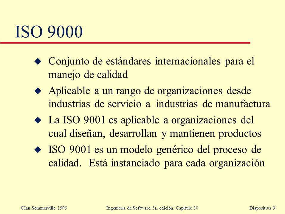 ISO 9000 Conjunto de estándares internacionales para el manejo de calidad.