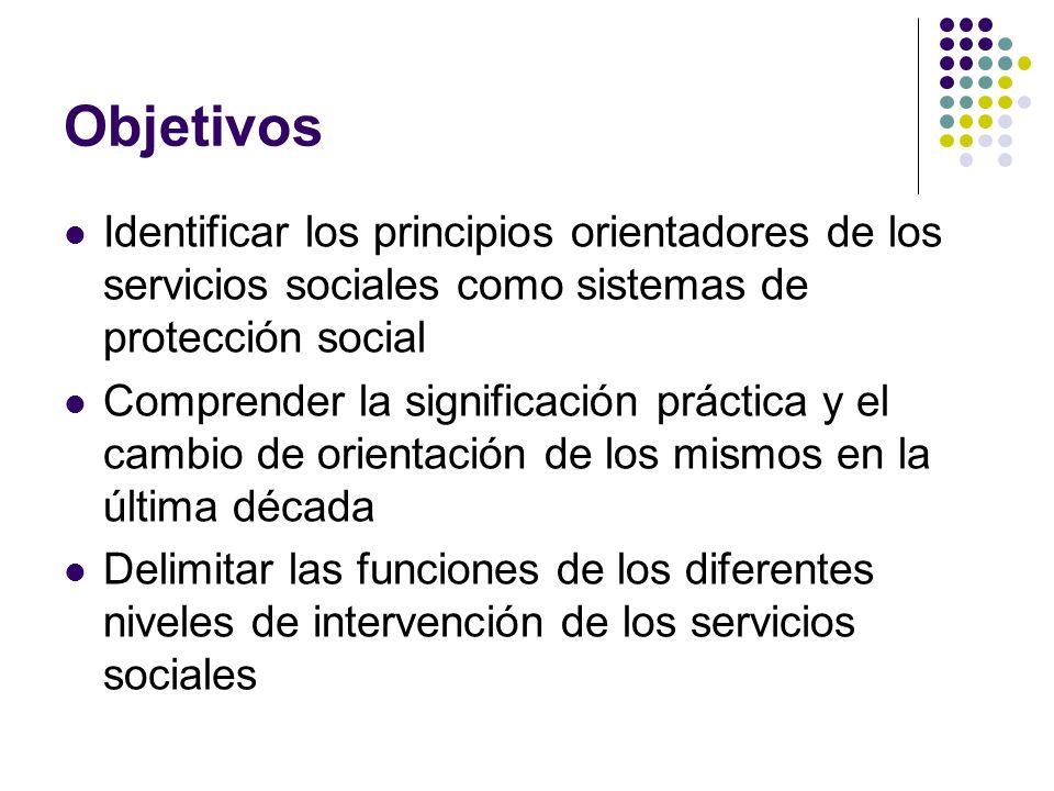 Objetivos Identificar los principios orientadores de los servicios sociales como sistemas de protección social.