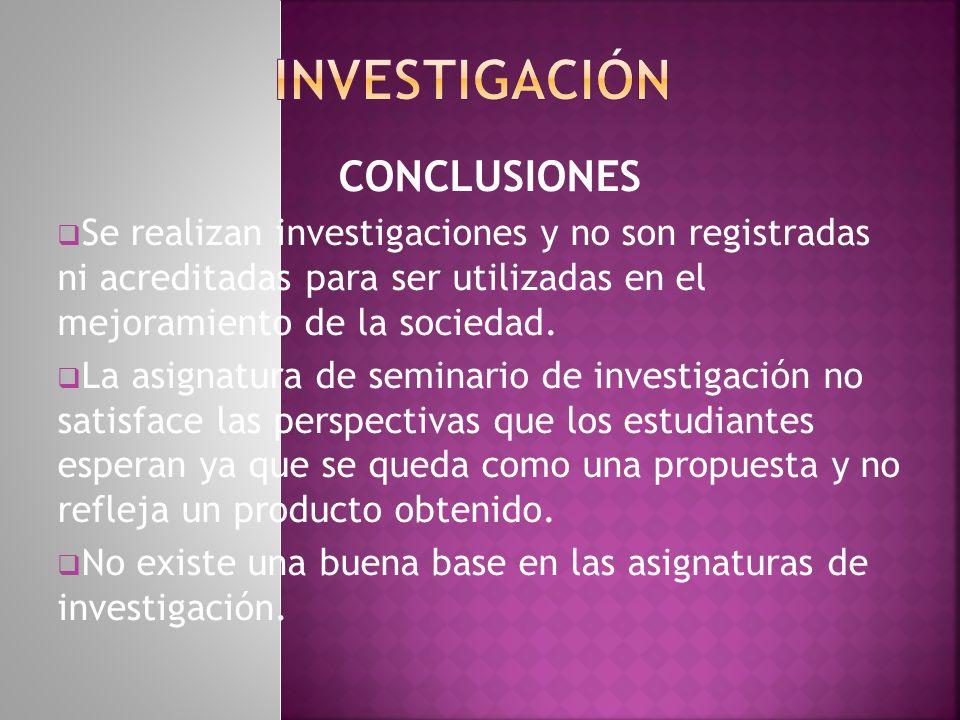 investigación CONCLUSIONES