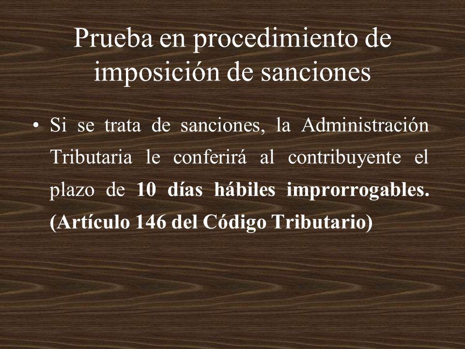 Prueba en procedimiento de imposición de sanciones