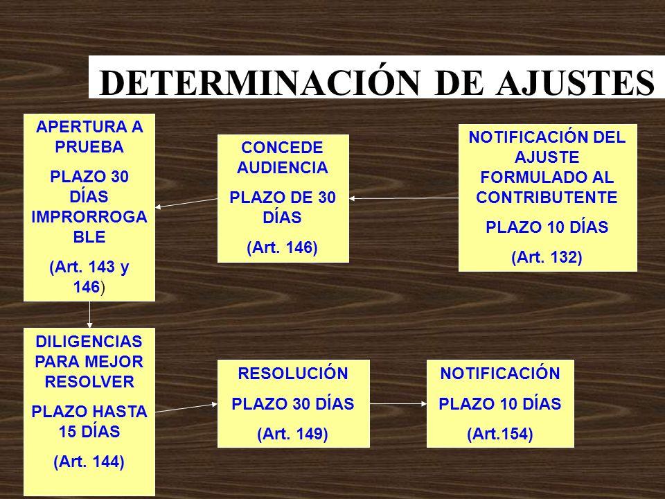 DETERMINACIÓN DE AJUSTES