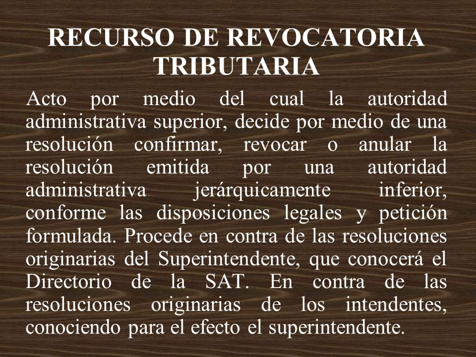 RECURSO DE REVOCATORIA TRIBUTARIA