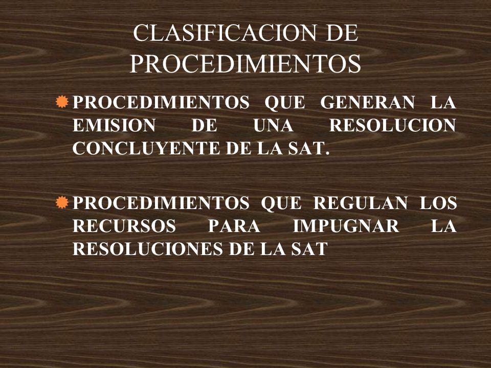 CLASIFICACION DE PROCEDIMIENTOS