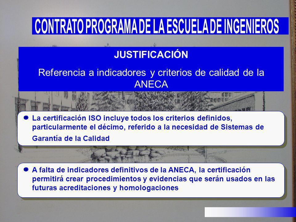 Referencia a indicadores y criterios de calidad de la ANECA