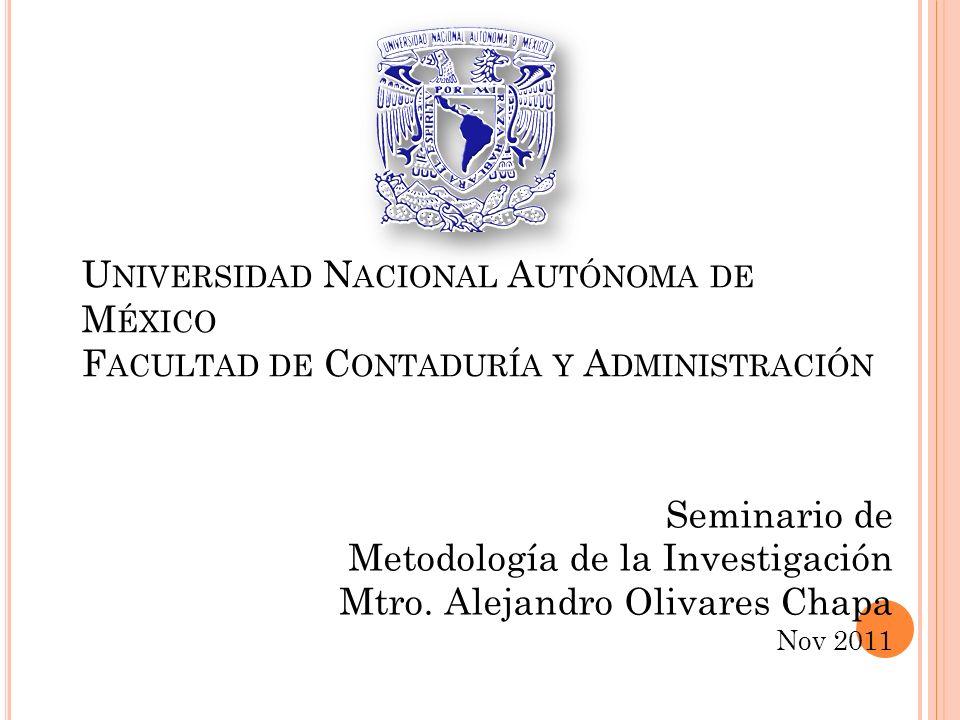 Metodología de la Investigación Mtro. Alejandro Olivares Chapa