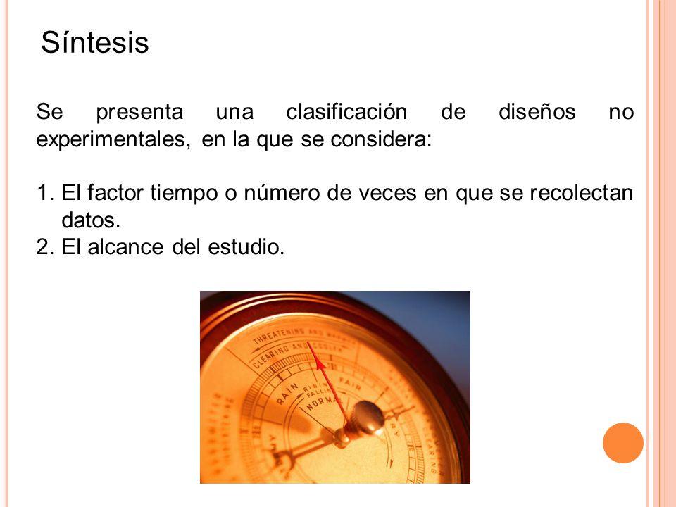 Síntesis Se presenta una clasificación de diseños no experimentales, en la que se considera: