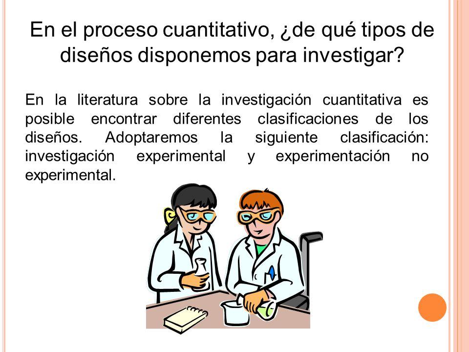 En el proceso cuantitativo, ¿de qué tipos de diseños disponemos para investigar