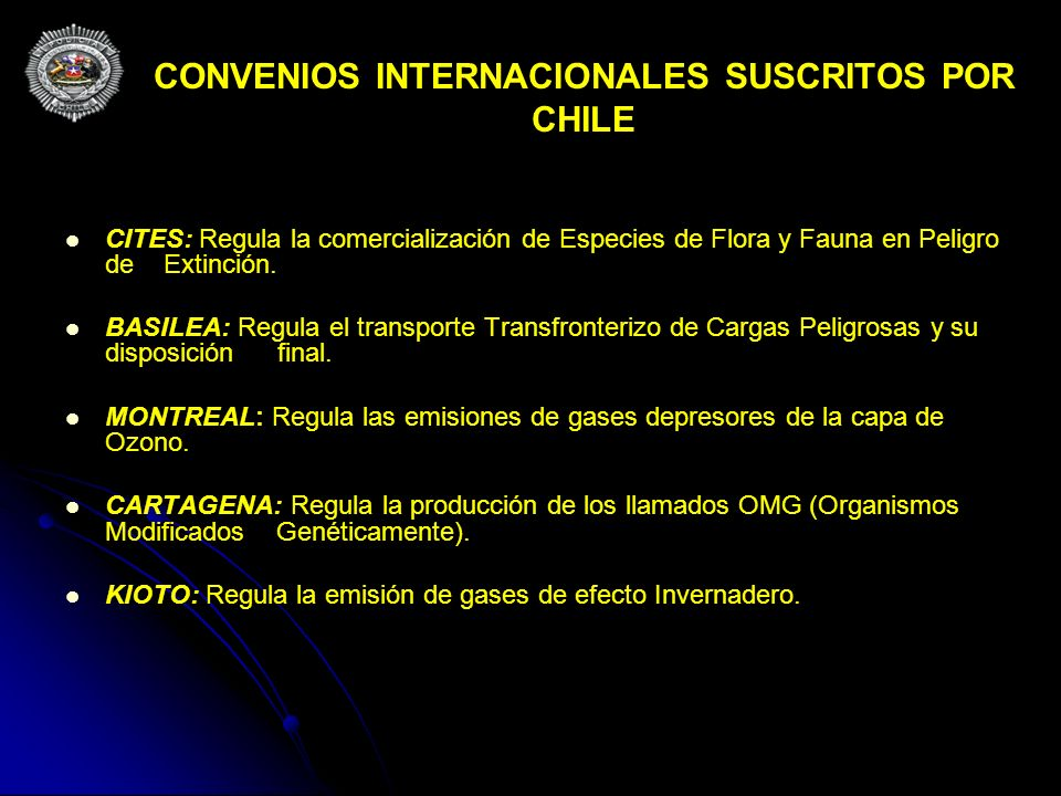 CONVENIOS INTERNACIONALES SUSCRITOS POR CHILE