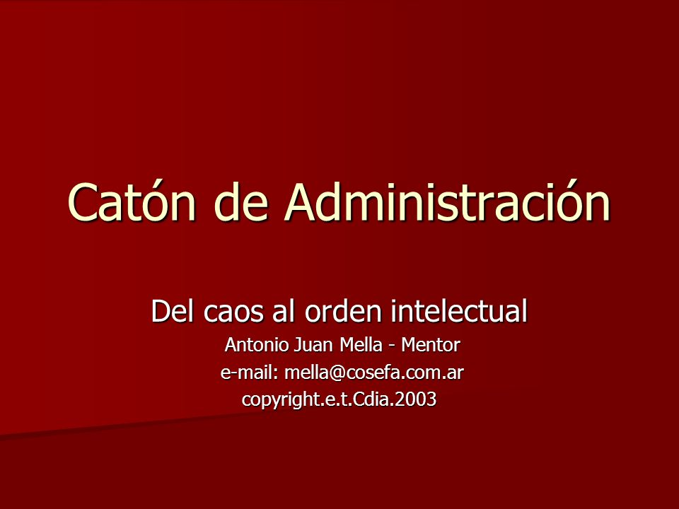 Catón de Administración