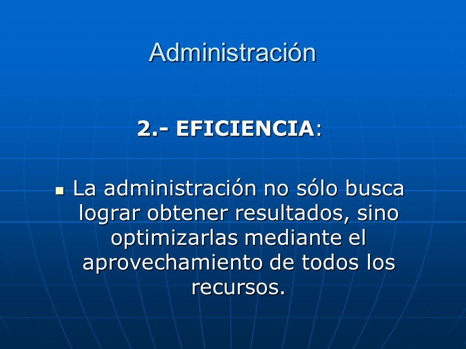 Administración 2.- EFICIENCIA: