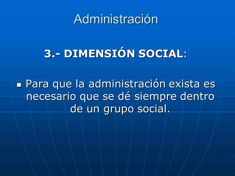 Administración 3.- DIMENSIÓN SOCIAL:
