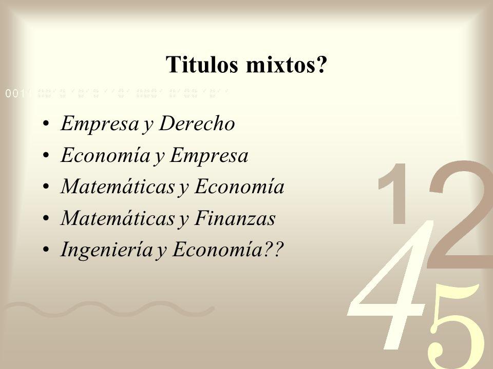 Titulos mixtos Empresa y Derecho Economía y Empresa