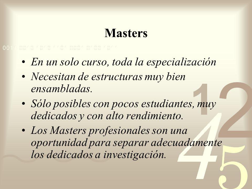 Masters En un solo curso, toda la especialización