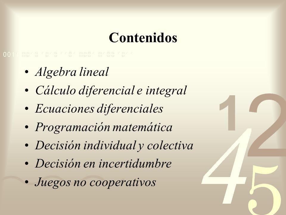 Contenidos Algebra lineal Cálculo diferencial e integral