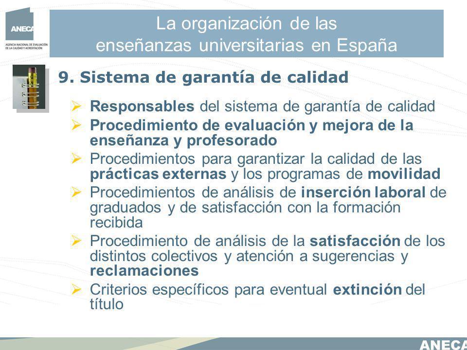 La organización de las enseñanzas universitarias en España