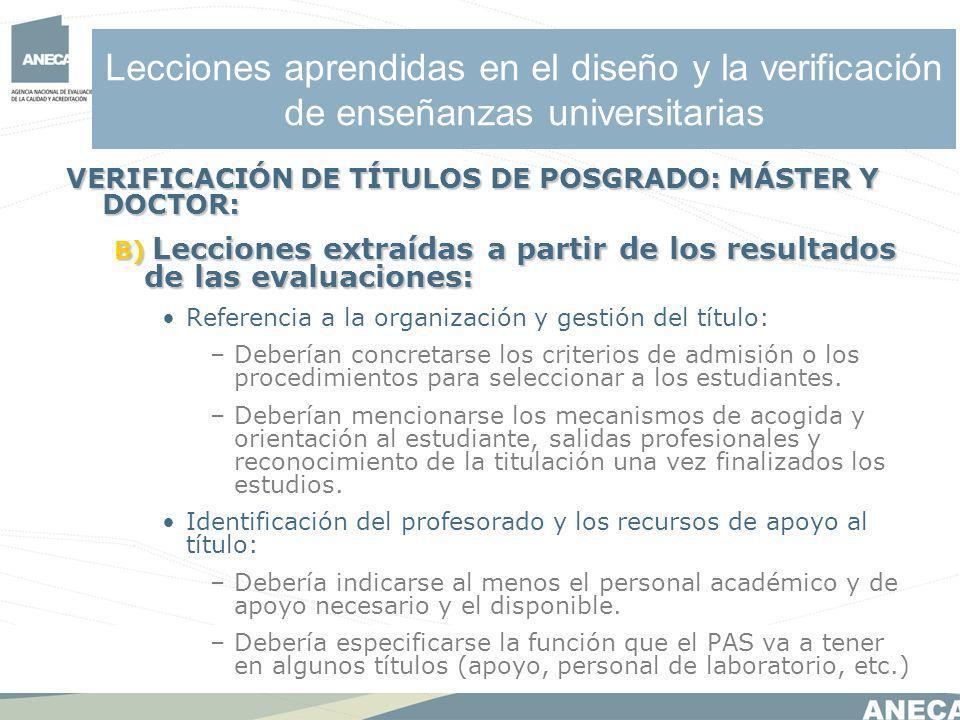 Lecciones aprendidas en el diseño y la verificación de enseñanzas universitarias