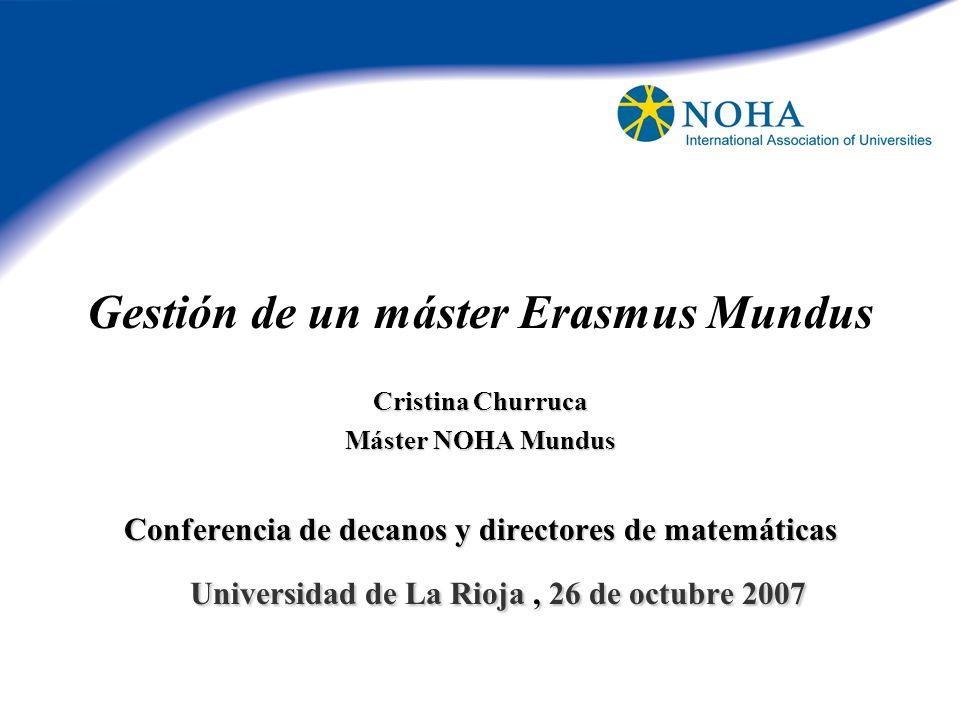 Gestión de un máster Erasmus Mundus