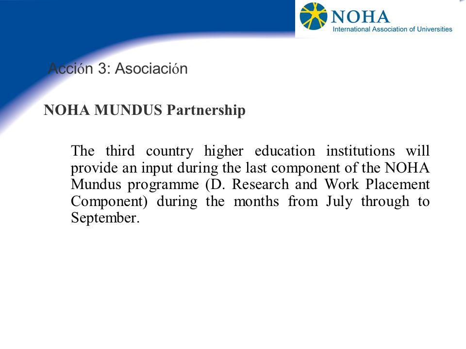 Acción 3: Asociación NOHA MUNDUS Partnership.