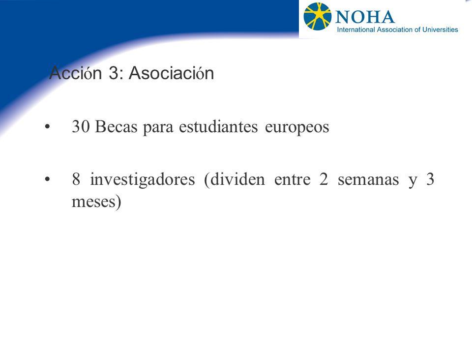 Acción 3: Asociación 30 Becas para estudiantes europeos.