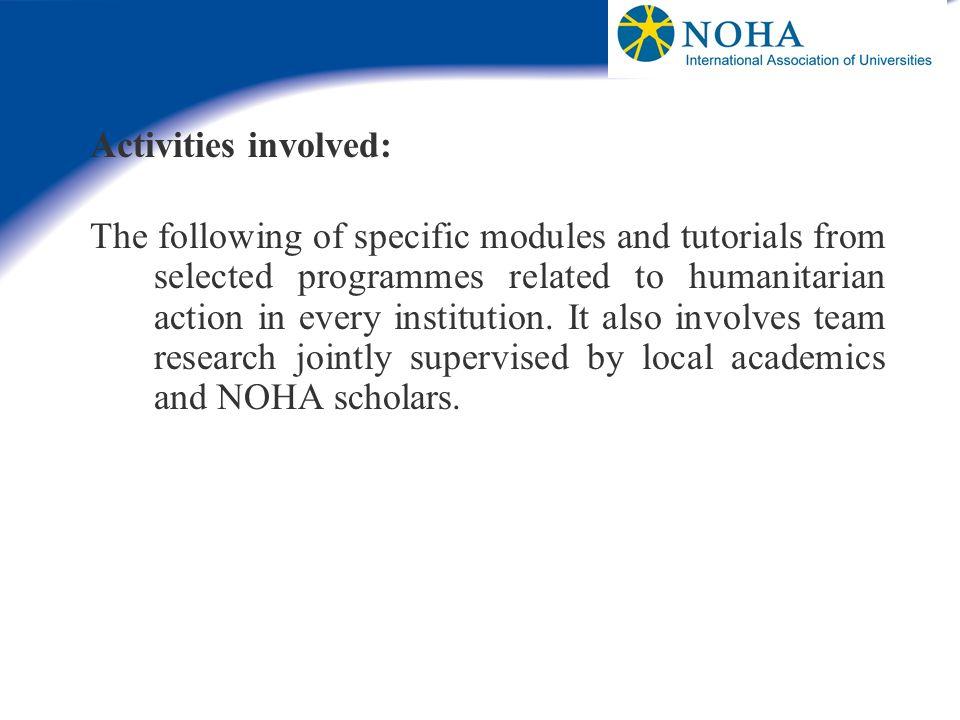Activities involved:
