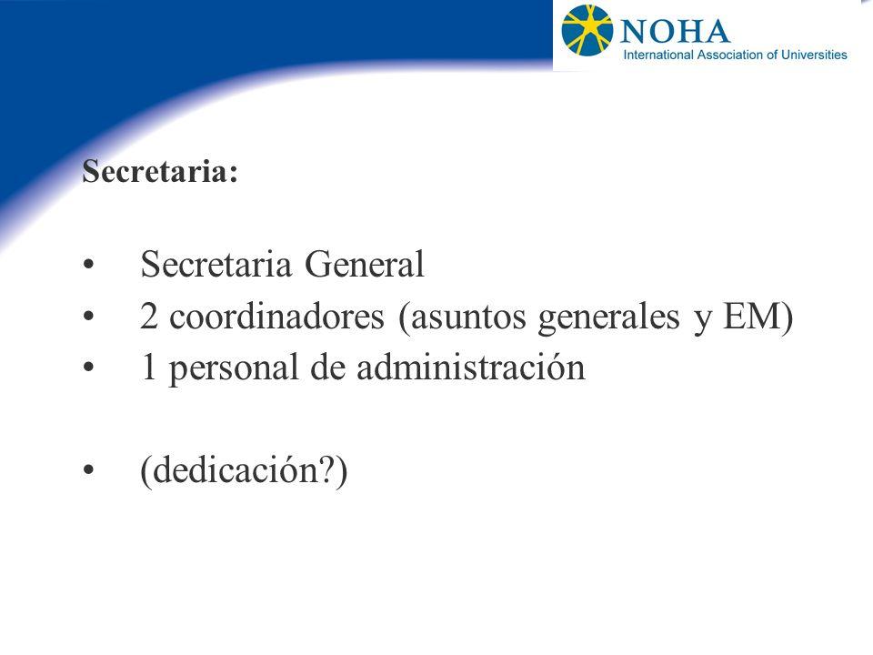 2 coordinadores (asuntos generales y EM) 1 personal de administración