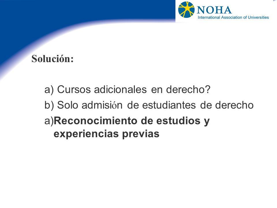 Solución: a) Cursos adicionales en derecho. b) Solo admisión de estudiantes de derecho.