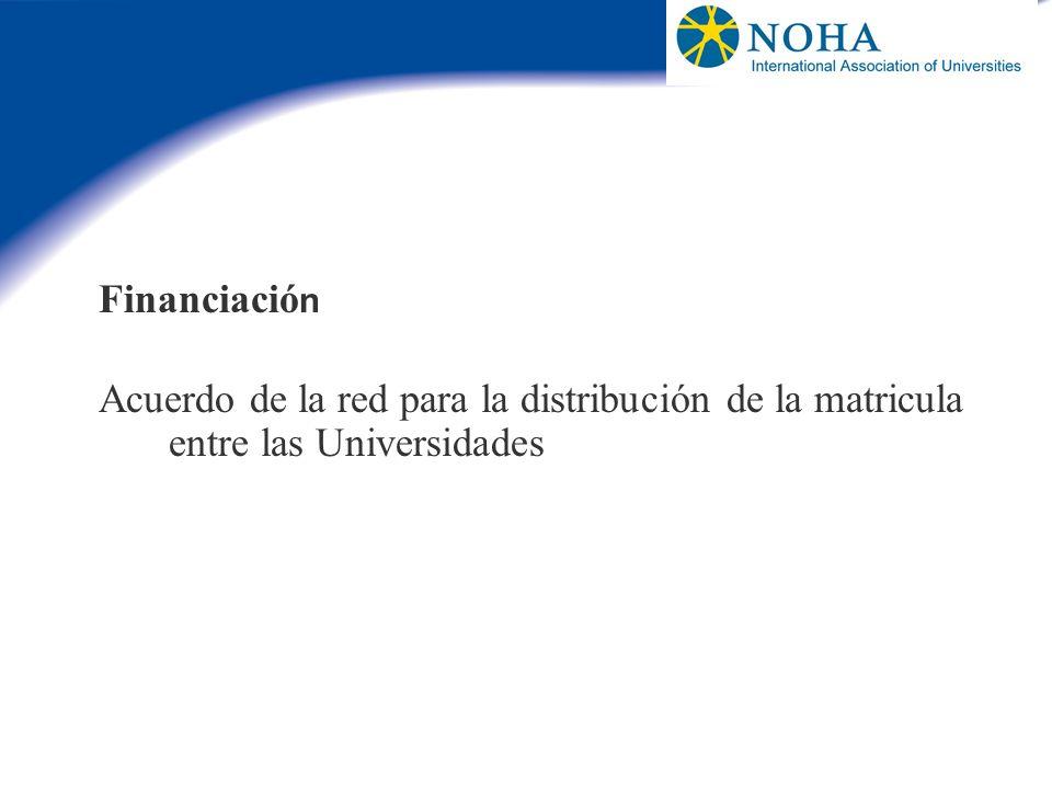 Financiación Acuerdo de la red para la distribución de la matricula entre las Universidades