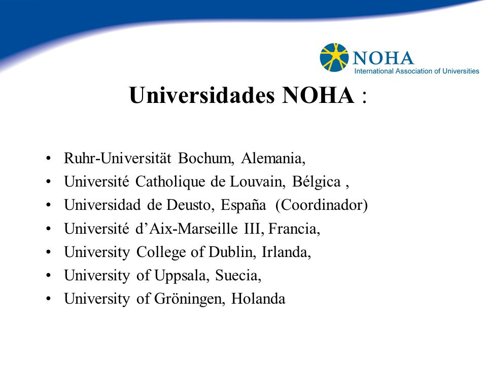 Universidades NOHA : Ruhr-Universität Bochum, Alemania,