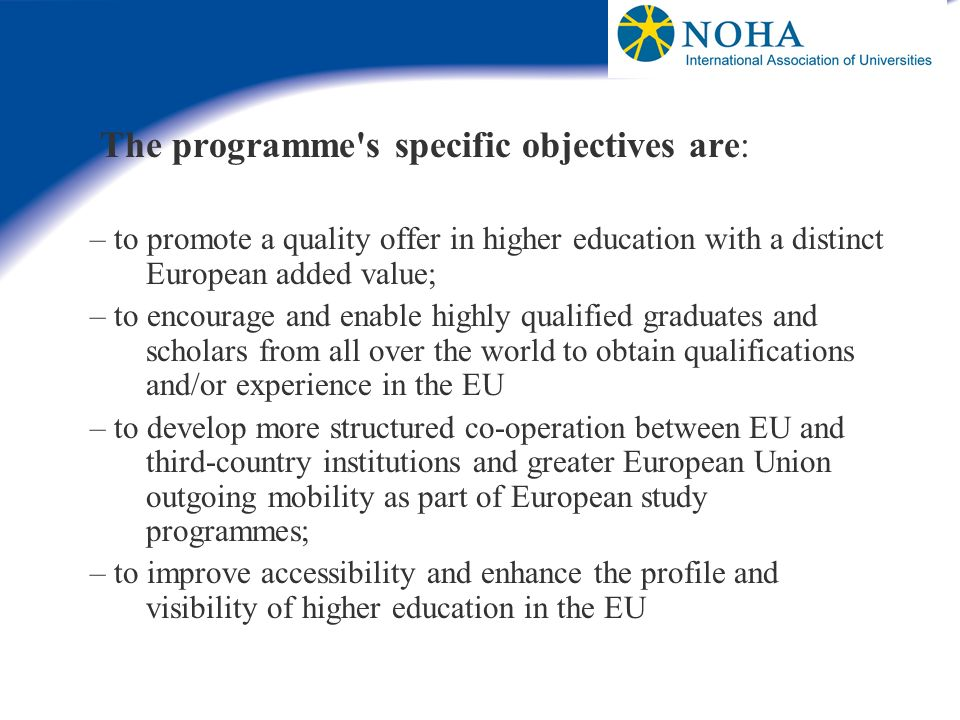 The programme s specific objectives are: