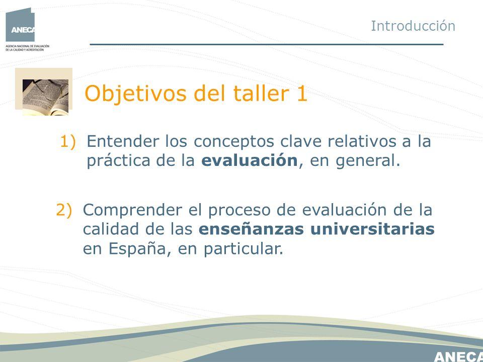 Introducción Objetivos del taller 1. Entender los conceptos clave relativos a la práctica de la evaluación, en general.