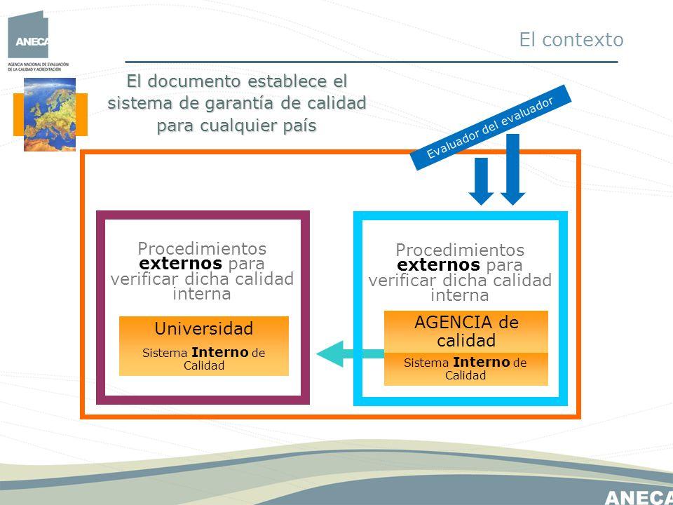 El contexto El documento establece el sistema de garantía de calidad para cualquier país. Evaluador del evaluador.