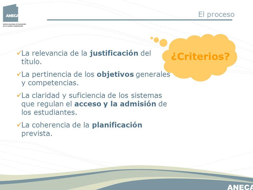 ¿Criterios El proceso La relevancia de la justificación del título.
