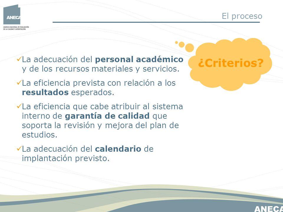 El proceso ¿Criterios La adecuación del personal académico y de los recursos materiales y servicios.