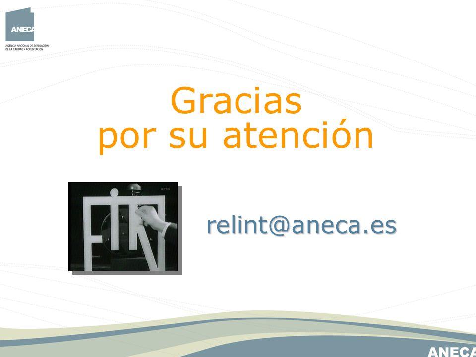 Gracias por su atención relint@aneca.es