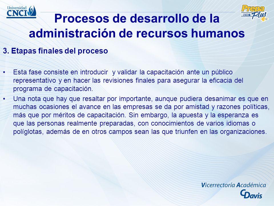 Procesos de desarrollo de la administración de recursos humanos