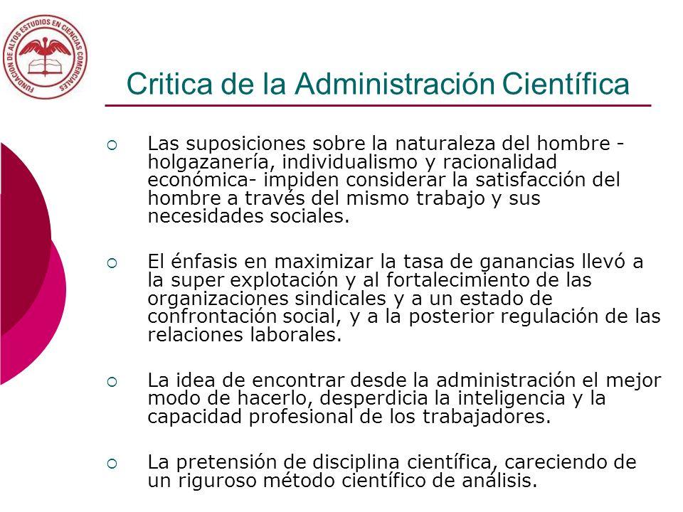 Critica de la Administración Científica