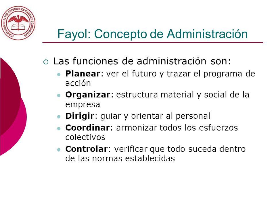 Fayol: Concepto de Administración