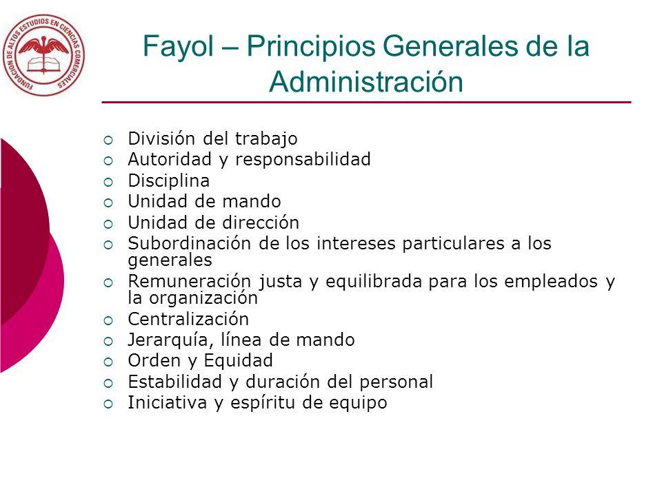 Fayol – Principios Generales de la Administración